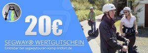 Verschenken Sie eine Segwaytour am Niederrhein - hier Wertgutschein im Wert von 20€